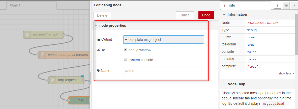The HTTP node configuration